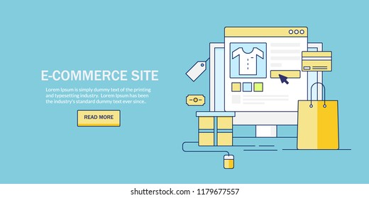 Flat line illustration of E-commerce website, Online shopping cart, digital business vector banner with icons and texts