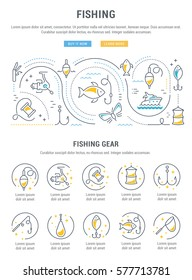 Flat line illustration of fishing. Concept for web banners and printed materials. Template with buttons for website banner and landing page