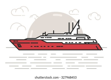 Flat Line Illustration of Luxury Yatch