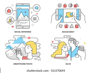 Flat line illustration set of romantic couple taking selfie on smartphone, selfportrait on mobile photo, editing and share on social network. Modern design vector concept, isolated on white background