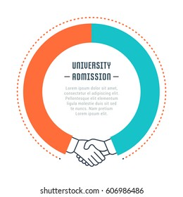 Flat line illustration of university admission . Concept for web banners and printed materials. Template with buttons for website banner and landing page
