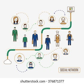 Flat line illustration of various business people profession