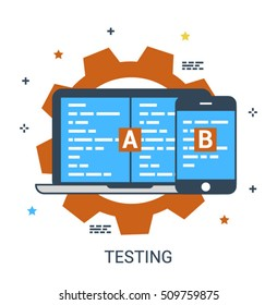 Flat line infographic concept of A-B software testing, programming, QA control or quality assurance. Vector icon concept.