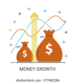 Flat line infographic icon concept of compound interest, funding, future income growth or revenue increase, banking. Red growing money bag. Bank vector icon.