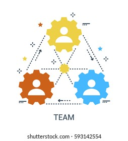 Flat line infographics icon concept of Team, vector symbol