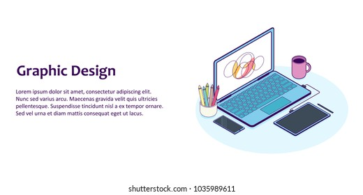 Flat line isometric illustration of designer workplace with computer and graphics tablet. For concept of office workspace