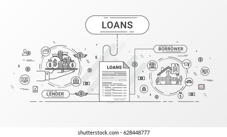Flat line Loans Info graphics design concept. Loan agreement between creditor and debtor. Vector illustration.