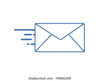 Flat line mail icon