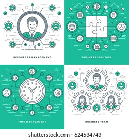 Flat line Management, Team Building, Success, Employee Search, Business Concepts Set Vector illustrations. Modern thin linear stroke vector icons.