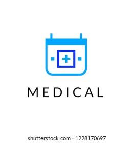 Flat line medicine icon monochrome blue emblem logo, web online concept.Logo of medical cross inside the calendar for hospital, clinic, medicine appointment app