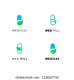 Flat line medicine icons blue and green  emblem logos, web online concept.Logo of pills, medical cross, pharmaceutical icons