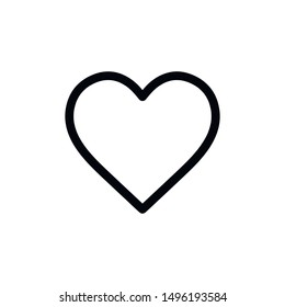 Flat line minimal heart icon. Simple vector heart icon. Isolated heart icon for various projects.
