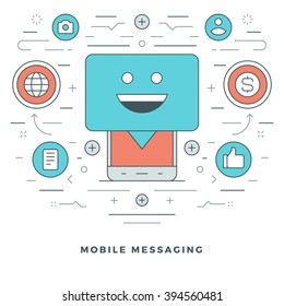 Flat line Mobile Messaging Concept Vector illustration. Modern thin linear stroke vector icons. Website Header Graphics, Banner, Infographics Design, Promotional Materials. Vector Icons.