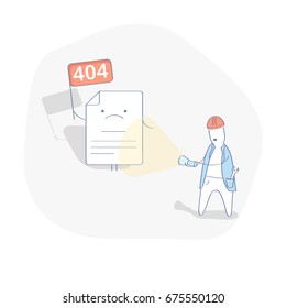 Flat line modern illustration concept of 404 error page or not found page. 404 creative concept with upset page and the man with a flashlight. Isolated vector illustration.