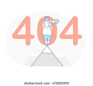 Flat line modern illustration concept of 404 page, Page not found, Error 404. The man stands on the mountain and looks in a telescope, 404 on the background. Isolated vector.