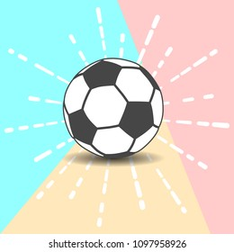 Flat Line modern pastel colored soccer ball icon with shadow on pink and blue background