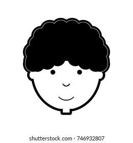 flat line monochromatic man face over white background vector illustration