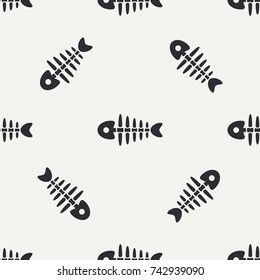 Flat line monochrome vector seamless pattern ocean fish bone, skeleton. Simplified retro. Childish cartoon style. Skull. Sea doodle art. Background. Illustration, element for your design, wallpaper.