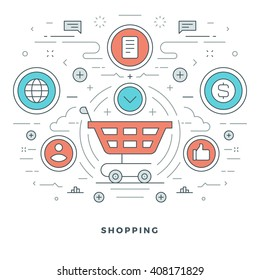 Flat line Online Shopping and E-Commerce. Vector illustration. Modern thin linear stroke vector icons. Website Graphics, Banner, Infographics Design, Promotional Materials. Vector Icons.