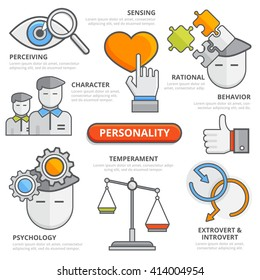 Flat line personality thinking traits concept: perceiving sensing character rational behavior temperament psychology extrovert introvert. Design elements for web, apps, isolated illustration template