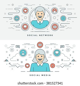 Flat line Social Media and Network Concept Vector illustration. Modern thin linear stroke vector icons. Website Header Graphics, Banner, Infographics Design, Promotional Materials. People Icons.