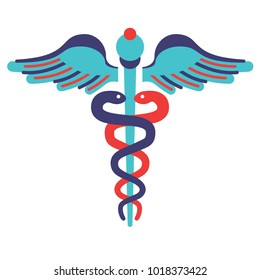Flat line style simbol. Medicine, pharmacy sign. Prescription Medicine, Healthcare. Caduceus medical symbol. Vector illustration, concept of medicine, for graphic and web design.