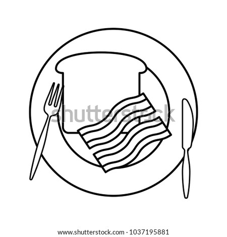 Flat Line Uncolored Plate Bread Bacon Stock Vector Royalty Free