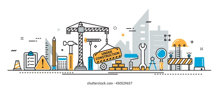 Flat line vector design concept of under construction, web page building process, presentation template for website banner linear and landing page header, timeline, infographics, promotional materials