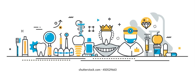 Flat line vector design concept of stomatology and dentist, dental clinic, medicine expertise presentation template for website banner linear and landing page header, timeline, cover, infographics