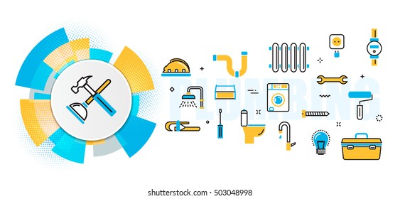 Flat line vector design concept of plumbing and handyman service, house problems, painting, repair banner for website header and landing page in circles digital element, linear, timeline, infographics