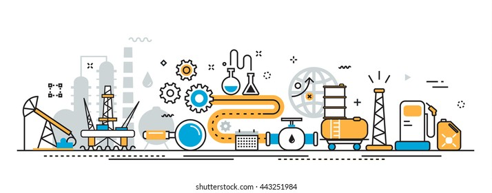Flat line vector design illustration concept of oil and gas production industry process, petroleum product, extraction, valving, well pump for website banner header and landing page linear