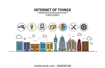 Flat line vector editable graphic illustration, Internet technology concept, Urban cityinternet of things