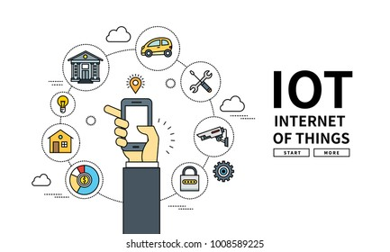 Flat line vector editable graphic illustration, Internet technology concept, internet of things