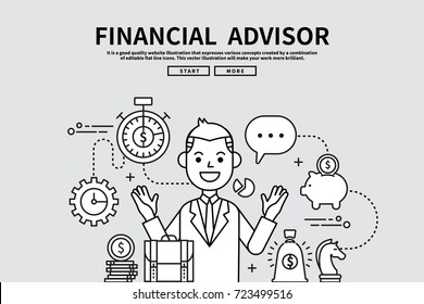 Flat line vector editable graphic illustration, business finance concept, financial advisor