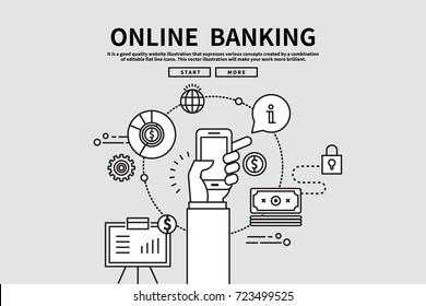 Flat line vector editable graphic illustration, business finance concept, online banking