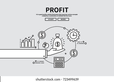 Flat line vector editable graphic illustration, business finance concept, profit