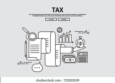 Flat line vector editable graphic illustration, business finance concept, tax