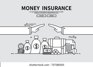 Flat line vector editable graphic illustration, business finance concept, money Insurance