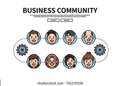 Flat line vector editable graphic website illustration, business community
