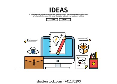 Flat line vector editable graphic website illustration, ideas