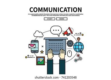 Flat line vector editable graphic website illustration, communication