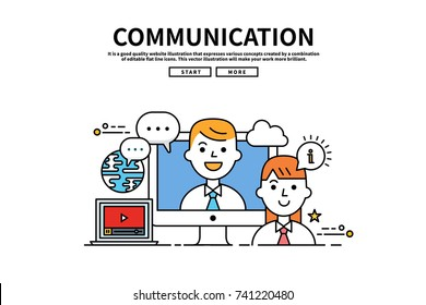 Flat line vector editable graphic website illustration, business communication