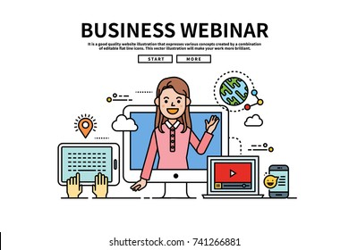 Flat line vector editable graphic website illustration, business webinar