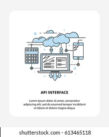 Flat line vector icon illustration concept of API Application Programming Interface with Laptop, Cloud Data and Mobile. Logo Style, API infographic symbol.
