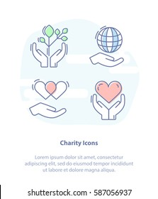 Flat line vector illustration icon set for Care, Protection, Charity or Donation. Symbols: Planet, Sprout, heart in hand.