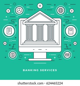 Flat line Vector illustration modern thin linear stroke icons. Website Header Graphics or Banner. Banking services, bank building icon.