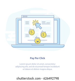 Flat line vector marketing illustration concept of Pay Per Click or Pay Per Action. Laptop and screen with browser icon. Use in Web Project and Applications. Blue outline isolated object.