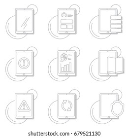 Flat line vector set of tablet icons. Modern vector pictogram collection concept of user interface.