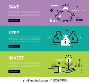 Flat line web banners of financial literacy. Line piggy bank, money bags and money sprout for websites and marketing materials with call to action buttons, ready to use