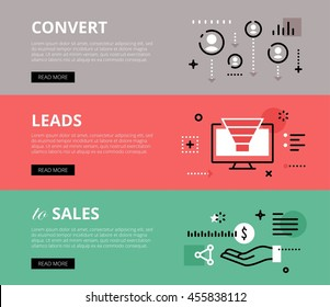 Flat line web banners of lead generation. Line people avatars, sales funnel and human hand for websites and marketing materials with call to action buttons, ready to use